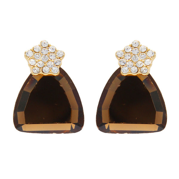White Flower With Heavy Brown Stone Studs