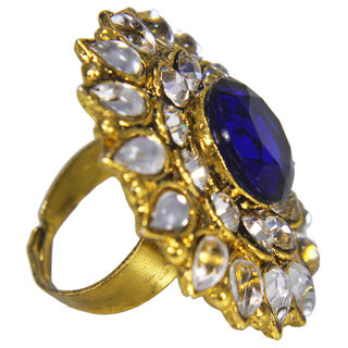 Round Shape Royal Blue And White Stone Studded Ring, adjustable