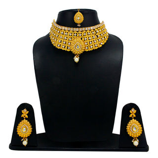White Stone Adorned Golden Necklace Set For Women
