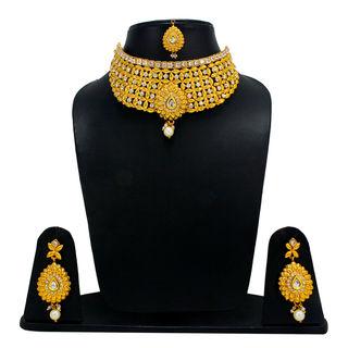 White Stone Adorned Golden Necklace Set For Women