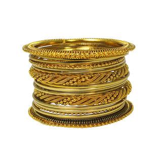 Unique Curvy Wire Design on Gold Tone Bangles Set For Women, 2-6