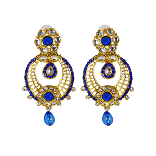Gold Plated Blue And White Cz Earring For Women