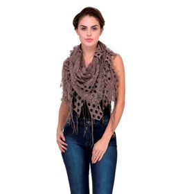 Scarves & Glitters Lace Fringe Triangle Scarf,  brown