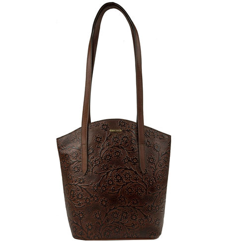 Hidesign Women Bonn Embossed Handbag,  brown