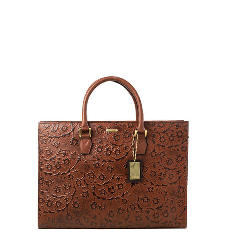 Hidesign Women Kester Flower Embossed,  brown