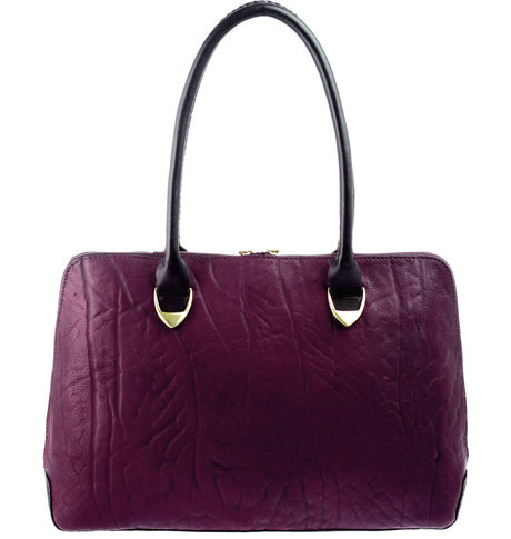 Hidesign Women Yangtze Elephant Ranch Handbag,  aubergine