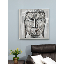 Buddha Face Square Painting, Black & White