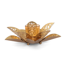 Mosaic Cutwork Sunflower Small Votive - @home by Nilkamal, Gold