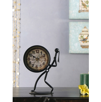 Drumming Man Table Clock, Black