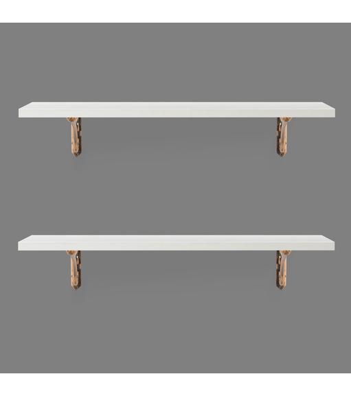 Romantic & Janus Medium Wall Shelf Set of 2 - @home by Nilkamal, White