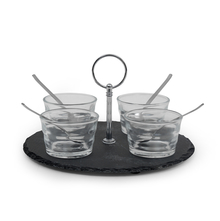 Serving Slate Set of 9 with Porcelain Bowls- @home by Nilkamal, Black