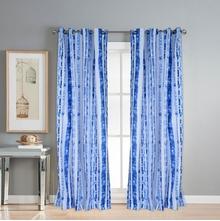 Digi Stripe 112 cm x 274 cm XL Door Curtain Set of 2 -@home by Nilkamal, Indigo