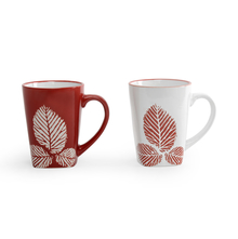 Mirage Leaf Coffee Mug Set of 2 - @home by Nilkamal, Maroon