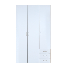 Masters High Gloss 3 Door Wardrobe - @home By Nilkamal, Oak and White