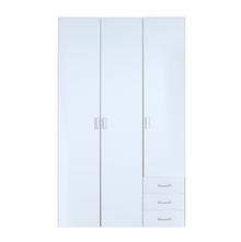 Masters High Gloss 3 Door Wardrobe - @home By Nilkamal, Oak and White
