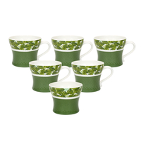 Tropical Ginger 200 ml Tea Cup Set of 6 - @home by Nilkamal, Green