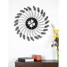 Crystal Leaf Wall Clock - @home by Nilkamal, Black