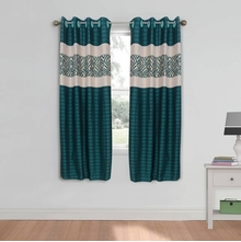 Geo 112 cm x 152 cm Window Curtain Set of 2 -@home by Nilkamal, Seagreen