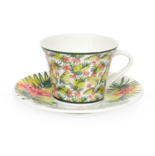 Tropical George 170 ml Tea Cup & Saucer Set of 6 - @home by Nilkamal, Green