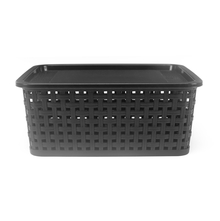 Square Pattern 26cm x 20cm x 10cm Basket with Lid - @home by Nilkamal, Black