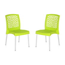 Nilkamal Novella 19 Stainless Steel Chair - Set of 2, Citrus Green