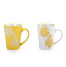 Mirage Damask Coffee Mug Set of 2 - @home by Nilkamal, Yellow