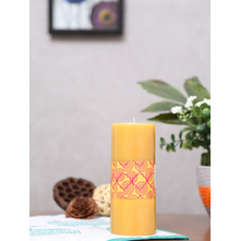 Indian Essence Large Rustic Pillar Candle, Yellow