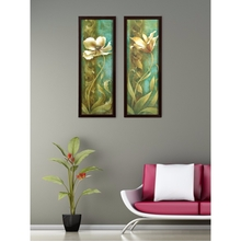 Floral Set of 2 Painting 17 cm x 47 cm - @home by Nilkamal, Green