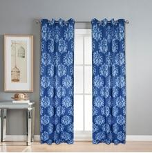 Digi Damask 112 cm x 274 cm XL Door Curtain Set of 2 -@home by Nilkamal, Indigo