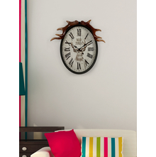 Deer Antlers 44 cm x 11 cm x 45 cm Wall Clock - @home by Nilkamal, Black