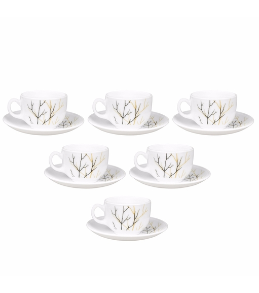 Laopala Golden Fall 160 ml Cup & Saucer Set of 6, Multicolor
