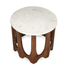 Sinclair Side Table with Marble Top, Walnut