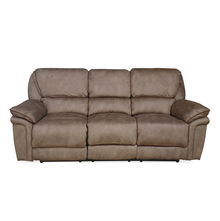 Fuzzy 3 Seater Sofa with 2 Electric Recliner, Mocha Brown