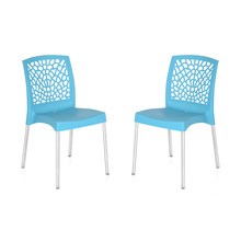 Nilkamal Novella 19 Stainless Steel Chair - Set of 2, Celeste Blue