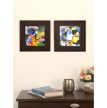 Radhakrishna Embossed Set of 2 Painting - @home by Nilkamal, Indigo