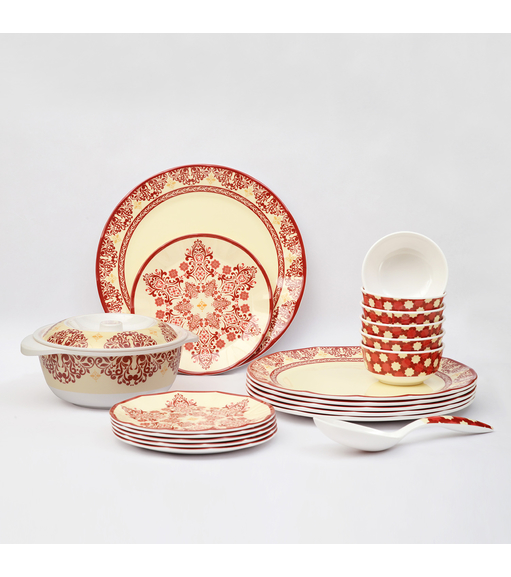 Earthy Wine 21 Pieces Dinner Set - @home by Nilkamal, Multicolor