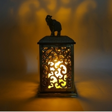 Elephant Jali LED Lantern Candle - @home by Nilkamal, Gold