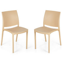Nilkamal Novella 08 without Arm & Cushion Chair Set of 2, Biscuit
