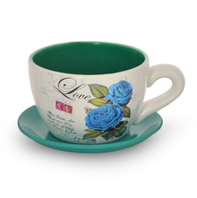Garden Mini Cup & Saucer Planter - @home by Nilkamal, Sea Green