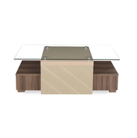 Maestro Center Table - @home by Nilkamal, Walnut with Sand Beige