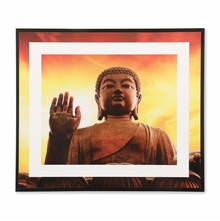 Blessing Buddha 35 cm x 41 cm Painting - @home by Nilkamal, Red