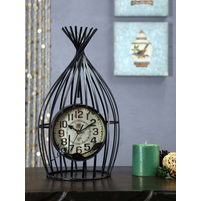 Bird Cage Table Clock, Black