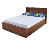 Monalisa Queen Bed - @home by Nilkamal, Caramel Walnut