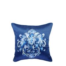 Digi Damask 40 cm x 40 cm Cushion Cover - @home by Nilkamal, Blue