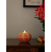 Geometric 12X8CM Candle Holder, Orange