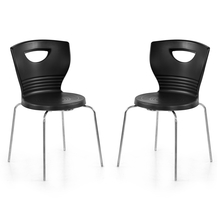 Nilkamal Novella 15 without Arm & Cushion Chair Set of 2, Black