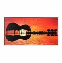 Shadow of River 30 cm x 60 cm Painting - @home by Nilkamal, Red