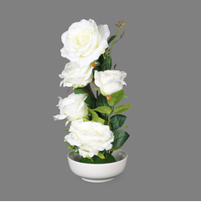 White Rose Flower Potted Plant - @home by Nilkamal, White