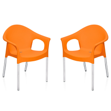 Nilkamal Novella 09 with Arm & without Cushion Chair Set of 2, Orange
