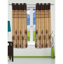 Splash 112 cm x 152 cm Window Curtain Set of 2 - @home by Nilkamal, Brown